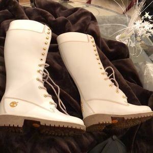 Knee high White leather Timbs